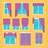 Собрание различных обработок окна: занавесы, drapery, shad бесплатная иллюстрация