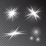 Собрание различных прозрачных накаляя световых эффектов проблескового света Стоковая Фотография