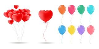 Собрание реалистического красного цвета воздушных шаров гелия вектора 3d, золото, желтый, пурпурный, голубой, зеленое для дня рож бесплатная иллюстрация