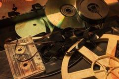 Собрание ретро аудио и магнитных лент для видеозаписи Стоковые Фотографии RF