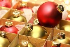 собрание рождества коробки шариков Стоковые Изображения