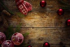 Собрание рождества орнаментирует предпосылку, космос для текста Стоковая Фотография