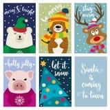 Собрание рождественской открытки с животными и желаниями иллюстрация вектора