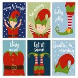 Собрание рождественской открытки с эльфами иллюстрация вектора