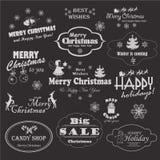 Собрание рождества каллиграфических и типографских символов дизайна, элементов и надписей Стоковые Фото