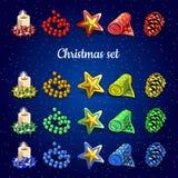 Собрание рождества свечей, шариков и другого Стоковые Изображения