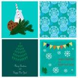 Собрание рождества с картиной снежинок безшовной и 3 карточками праздника Стоковое Изображение RF