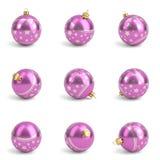 Собрание розовых шариков рождества бело 3d представляют Стоковое Фото