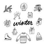 Собрание руки вычерченное атрибутов зимы иллюстрация штока