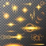 Собрание световых эффектов различного пирофакела Объектив flares, лучи, звезды и sparkles с собранием bokeh вектор Стоковая Фотография RF