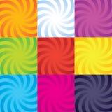 Собрание свирли спирали цвет-взрыва вектора иллюстрация штока