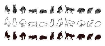 Собрание силуэтов котов в различных положениях и делать различные действия иллюстрация штока