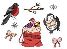 Собрание символов зимы шаржа также вектор иллюстрации притяжки corel иллюстрация вектора