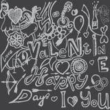 Собрание символов дня валентинок нарисованное вручную Стоковое Изображение RF