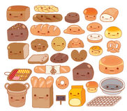 Собрание симпатичного значка doodle еды хлебопекарни младенца Стоковое Изображение