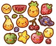 Собрание симпатичного плодоовощ яркого блеска, плодоовощ с doodl пальто сахара Стоковое Фото