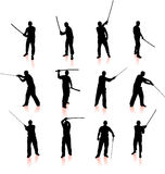 Собрание силуэта Ninja Стоковая Фотография