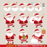 Собрание смешного Санта Клауса комплект элементов конструкции рождества emoticons установили иллюстрация вектора