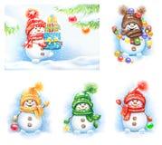 Собрание снеговиков в mittens и шляпах иллюстрация вектора