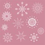 Собрание снежинок, естественных снежинок рождества, звезд рождества, изолированных для дизайна Стоковые Изображения RF