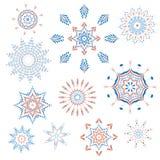 Собрание снежинок, естественных снежинок рождества, звезд рождества, изолированных на белой предпосылке для дизайна Стоковые Фото