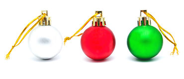 Собрание совершенных ретро изолированных шариков рождества цветов Стоковая Фотография RF