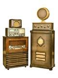 Собрание старого радио изолированное на белизне Стоковые Изображения