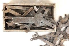 Собрание старого ржавого wrenche Стоковая Фотография RF