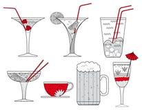 Собрание стекел, чашки кофе и стекла коктеила пива - иллюстрации Стоковое Фото