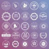 Собрание стикеров и значков для естественных косметик и продуктов красоты иллюстрация вектора
