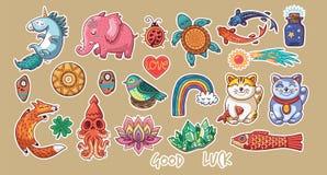 Собрание стикеров с удачливыми символами бесплатная иллюстрация