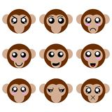 Собрание сторон обезьяны мультфильма изолированных на белой предпосылке Различные эмоции, выражения illustation вектора иллюстрация вектора