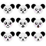 Собрание сторон панды мультфильма изолированных на белой предпосылке Различные эмоции, выражения illustation вектора бесплатная иллюстрация