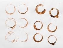Собрание сухой кофейной чашки пятнает на белой предпосылке Стоковая Фотография