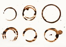 Собрание сухой кофейной чашки пятнает на белой предпосылке Стоковые Изображения