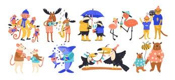 Собрание счастливых диких животных родителя и младенца, рыб и птиц Установите милых смешных забавных персонажей из мультфильма из иллюстрация вектора