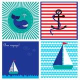 Собрание с карточками в морском стиле с пока, корабль и анкер Стоковые Фотографии RF