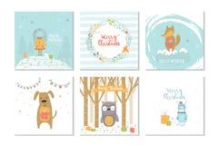 Собрание с Рождеством Христовым милой поздравительной открытки 6 с животными, иллюстрация штока