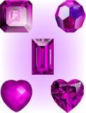 Собрание темных розовых кристаллических векторов шарика Стоковые Изображения