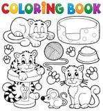Собрание темы кота книжка-раскраски Стоковое фото RF