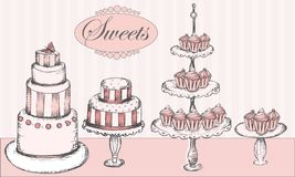 Собрание тортов, пирожных и торта хлопает Стоковое фото RF
