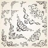 Собрание углов вектора в винтажном стиле и викторианских декоративных элементах дизайна книги или приглашения Стоковая Фотография RF