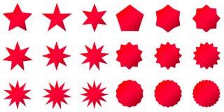 Собрание ультрамодных ретро форм звезд Комплект элементов дизайна Sunburst Разрывать искусство зажима лучей Sparkles красного цве иллюстрация штока