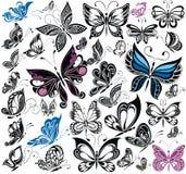 Собрание фантазии большое бабочек вектор Стоковые Фотографии RF