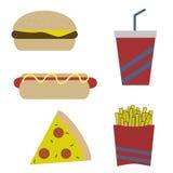 Собрание фаст-фуда еды, содержа 5 векторов Стоковые Изображения RF
