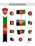 Собрание флага Афганистана плоское иллюстрация штока