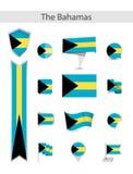 Собрание флага Багамских островов плоское бесплатная иллюстрация