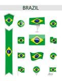 Собрание флага Бразилии плоское иллюстрация штока