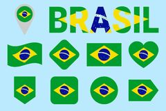 Собрание флага Бразилии Установленные флаги бразильянина вектора Значки изолированные квартирой с именем положения Традиционные ц иллюстрация вектора