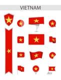 Собрание флага Вьетнама плоское иллюстрация штока